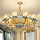 Carved Glass Scalloped Pendant Light Fixture Classic Dining Room Chandelier with Crystal Drop in Blue