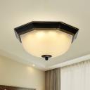 Ribbed Glass Bowl Flush Mount Lighting Retro 3 Heads Living Room Flush Mount Ceiling Light in Gold-Black
