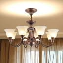 Rustic Bell Shade Suspension Light Frosted Glass Chandelier Light for Dining Room