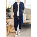 Casual Men's Set Graphic Pattern Contrast Panel Button-down Long Sleeve Regular Fitted Coat with Tapered Crop Pants Co-ords
