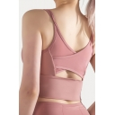 Leisure Women's Tank Top Mesh Gauze Patchwork Mesh Gauze Hollow out Scoop Neck Sleeveless Slim Fitted Training Cami Top