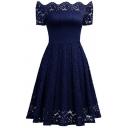 Chic Lace Inserted Off The Shoulder Ruffle Hem Plain Midi A-Line Dress
