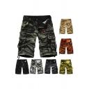 Fancy Men's Shorts Tie Dye Camo Pattern Flap Pocket Side Pocket Mid Waist Knee Length Shorts