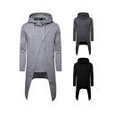 Casual Men's Hoodie Solid Color Long Sleeves High-Low Asymmetrical Hem Drawstring Hooded Sweatshirt