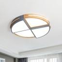 Circular Sector Shaped Flush Lamp Creative Acrylic Wooden LED Flush Mount Ceiling Fixture