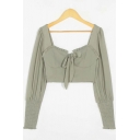 Trendy Women's Shirt Blouse Solid Color Ruffle Detail Front Tie Sweetheart Neck Stringy Selvedge Embellished Long Sleeves Cropped Blouse