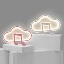 Kids Cloud and Musical Rhythm Flushmount Acrylic Bedroom LED Flush Ceiling Light