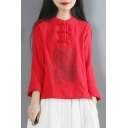 Chinese Style T Shirt Floral Embroidered Linen and Cotton Long Sleeve Crew Neck Frog Button Relaxed Tee Top