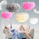 Feather Dome Chandelier Pendant Nordic Ceiling Suspension Lamp for Girls Bedroom