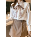 Lovely Girls Shirt Letter Pucky Cartoon Bear Graphic Long Sleeve Point Collar Bow Tied Relaxed Shirt in White