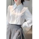 Popular Womens Shirt Puff Sleeve Point Collar Button Up Regular Fit Shirt Top in White