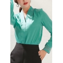 Womens Trendy Shirt Floral Embroidery Long Sleeve Surplice Neck Regular Fit Shirt Top