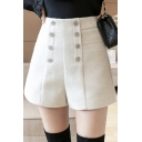 Basic Womens Shorts Wool Button Up Solid Color Relaxed Fit Shorts