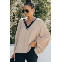 Elegant Women's Shirt Blouse Lace Trim V Neck Long Bishop Sleeves Relaxed Fit Shirt Blouse