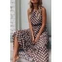 Trendy Women's Blouse Dress Polka Dot Pattern Round Neck Drawstring Waist Sleeveless Long Blouse Dress