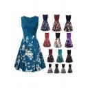 Leisure Womens Floral Printed Sleeveless Surplice Neck Midi Pleated A-line Tank Dress