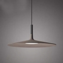 Simplicity 1-Light Pendant Light Grey Saucer Shaped Hanging Lamp with Cement Shade