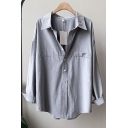 Fancy Women's Shirt Blouse Solid Color Deep V Neck Turn-down Collar Long Sleeves Relaxed Fit Shirt Blouse