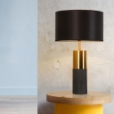 Cylinder Concrete Table Light Minimalistic 1-Bulb Nightstand Lamp with Fabric Shade