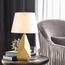 Electroplated Rock Shaped Table Lamp Postmodern Metal Single Gold Night Light with Empire Shade