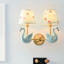 Taper Fabric Wall Mounted Lighting Cartoon Sconce Wall Light with Decorative Swan