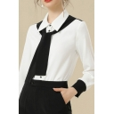 Ladies Basic Shirt Long Sleeve Point Collar Tied Front Button Up Fit Shirt in White