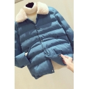 Retro Women's Down Coat Quilted Button Fly Fur Fleece Collar Front Pocket Long Sleeves Relaxed Fit Down Coat