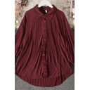 Fancy Women's Shirt Blouse Solid Color Button Fly Point Collar Long Sleeves Relaxed Fit Shirt Blouse