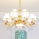 Chandelier Light Fixture Vintage Curve Shade White Glass Pendant with Crystal Strands