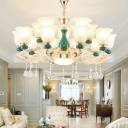 Opal Glass Emerald Green Chandelier Bellflower Retro Style Ceiling Hang Light with Crystal Decoration