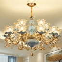 Scalloped Hanging Light Kit Traditional Blue and Gold Clear Glass Chandelier with Crystal Drapes