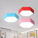 Macaron LED Ceiling Flush Light Hexagon Flush-Mount Light Fixture with Acrylic Shade
