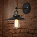 Cone Shade Metal Wall Mount Light Industrial Single Restaurant Wall Light Fixture in Black