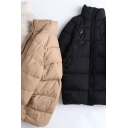 Trendy Women's Down Coat Quilted Solid Color Zip Closure Stand Collar Long Sleeve Relaxed Fit Down Coat