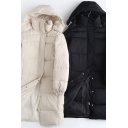 Fancy Women's Down Coat Plain Quilted Zip Fly Side Pocket Stand Collar Long Sleeve Hooded Coat
