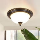 Bowl Shade Opal Glass Flush Lighting Rustic Corridor LED Flush Ceiling Light Fixture