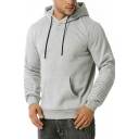 Stylish Men's Hoodie Front Pocket Banded Cuffs Pleated Detail Long Sleeves Drawstring Hooded Sweatshirt