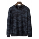 Trendy Sweatshirt Camo Printed Long Sleeve Crew Neck Relaxed Fitted Pullover Sweatshirt