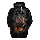 Fancy Men's Hoodie Dog 3D Pattern Front Pocket Long Sleeve Drawstring Hooded Sweatshirt