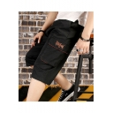 Summer Fashion Letter Printed Flap Pocket Men's Casual Cotton Cargo Shorts