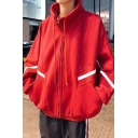 Guys Hip Hop Style Fashion Chevron Pattern Stand Collar Long Sleeve Zip Up Oversized Jacket Coat
