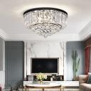 Drum Shaped Bedroom Ceiling Lamp Modern K9 Crystal Black Flush-Mount Light Fixture