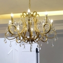 Octopus Shaped Ceiling Light Traditional Gold Finish Metal Chandelier with Crystal Accent