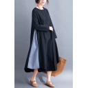 Elegant Women's Swing Dress Contrast Color Crew Neck Long Sleeves Relaxed Fit Maxi Swing Dress