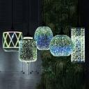 Geometric Shaped Pendant Lighting Modern 3D Glass 1 Head Dining Room Hanging Lamp in Black