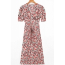 Vintage Women's Blouse Dress All over Floral Print Wrap Front Short Puff Sleeves Midi A-Line Blouse Dress with Waist Tie