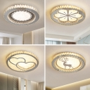 Round Surface Mounted LED Ceiling Lamp Modern Crystal Bedroom Flush Mount Light in Stainless Steel