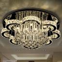 Petals Crystal Ceiling Flush Mount Light Modern Glam Stainless Steel LED Semi Flush Mount with Drapes
