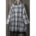 Casual Womens Shirt Plaid Printed Long Sleeve Round Neck Slit Sides Tunic Loose Fit Shirt Top