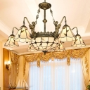 Cut Glass Panel Beige Drop Lamp Conical Tiffany Style Ceiling Chandelier with Scalloped Trim